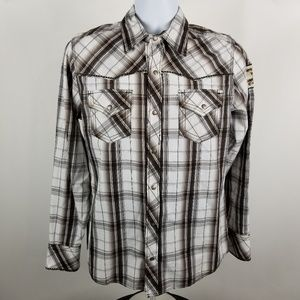 Buckle Slim Fit Stretch Brown Gray Western Shirt S